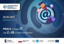 Plakat promujący konferencję Praca w branży IT, czykli ZySK na bazie umiejętności